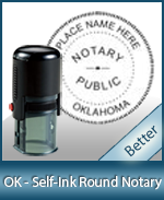 An affordable round self-inking notary stamp for Oklahoma can be purchased quickly right here.