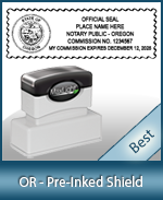 A High quality state emblem notary stamp with a stylish border for Oregon.