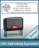 This durable, quality Notary commission stamp for Oregon is available right here. Fast shipping!