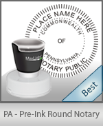 This High-quality Round Pennsylvania Notary stamp gives a clean, clear impression every time.