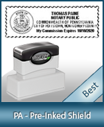 A High quality state emblem notary stamp with a stylish border for Pennsylvania.