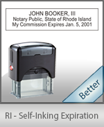 This durable, quality Notary commission stamp for Rhode Island is available right here. Fast shipping!