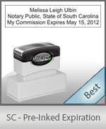 The Highest quality notary commission stamp for South Carolina.