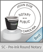 This High-quality Round South Carolina Notary stamp gives a clean, clear impression every time.