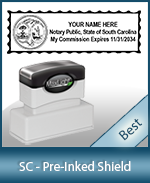 A High quality state emblem notary stamp with a stylish border for South Carolina.