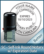 An affordable round self-inking notary stamp for South Carolina can be purchased quickly right here.