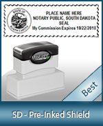 A High quality state emblem notary stamp with a stylish border for South Dakota.