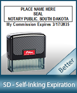 This durable, quality Notary commission stamp for South Dakota is available right here. Fast shipping!