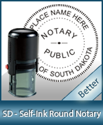 An affordable round self-inking notary stamp for South Dakota can be purchased quickly right here.