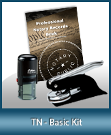 This affordable notary supply kit for Tennessee contains the basic required notary stamps.