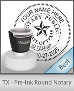 This High-quality Round Texas Notary stamp gives a clean, clear impression every time.
