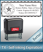 This durable, quality Notary commission stamp for Texas is available right here. Fast shipping!