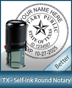 An affordable round self-inking notary stamp for Texas can be purchased quickly right here.