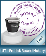 This High-quality Round Utah Notary stamp gives a clean, clear impression every time.