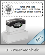 A High quality state emblem notary stamp with a stylish border for Utah.