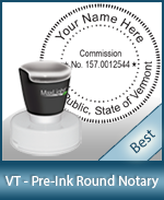 This High-quality Round Vermont Notary stamp gives a clean, clear impression every time.