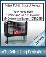 This durable, quality Notary commission stamp for Vermont is available right here. Fast shipping!