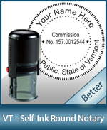 An affordable round self-inking notary stamp for Vermont can be purchased quickly right here.