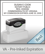 The Highest quality notary commission stamp for Virginia.