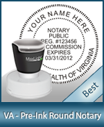 This High-quality Round Virginia Notary stamp gives a clean, clear impression every time.