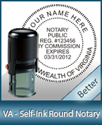 An affordable round self-inking notary stamp for Virginia can be purchased quickly right here.