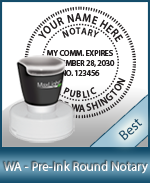 This High-quality Round Washington Notary stamp gives a clean, clear impression every time.