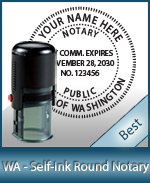 An affordable round self-inking notary stamp for Washington can be purchased quickly right here.