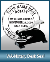 This sturdy Washington Notary Desk Seal is made of steel construction and built to last.
