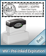 The Highest quality notary commission stamp for West Virginia.