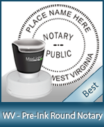 This High-quality Round West Virginia Notary stamp gives a clean, clear impression every time.