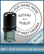 An affordable round self-inking notary stamp for West Virginia can be purchased quickly right here.