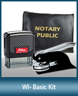 This affordable notary supply kit for Wisconsin contains the basic required notary stamps.
