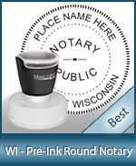This High-quality Round Wisconsin Notary stamp gives a clean, clear impression every time.