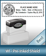 A High quality state emblem notary stamp with a stylish border for Wisconsin.