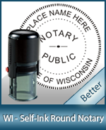 An affordable round self-inking notary stamp for Wisconsin can be purchased quickly right here.