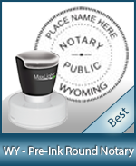 This High-quality Round Wyoming Notary stamp gives a clean, clear impression every time.