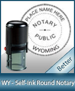 An affordable round self-inking notary stamp for Wyoming can be purchased quickly right here.